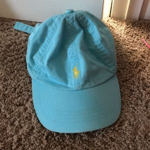 Aqua Blue Polo Hat with Yellow horse